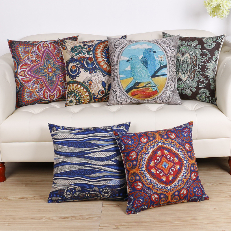 45cm Boho Style Brown Fashion Cotton Linen Fabric Throw Pillow Hot Sale 18 Inch New Home Decor Sofa Car Cushion Office Nap FR