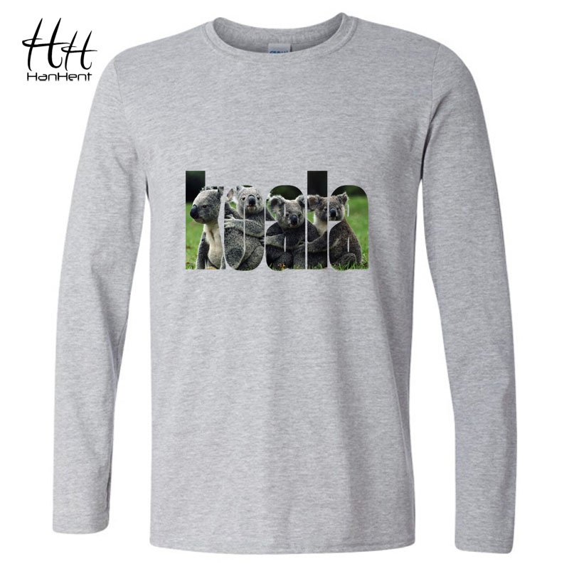 HanHent The Koala Australia T-shirts Animal Men Long Sleeve O-neck Cotton Tee shirts Music Spring Fashion Style T shirts LT0464(China (Mainland))