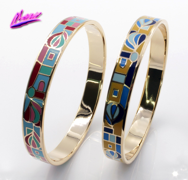 Promotion New Fashion 18K Gold Plated Stainless Steel Abstract Pattern Enamel Bangles Bracelets Jewelry for Women B4<br><br>Aliexpress