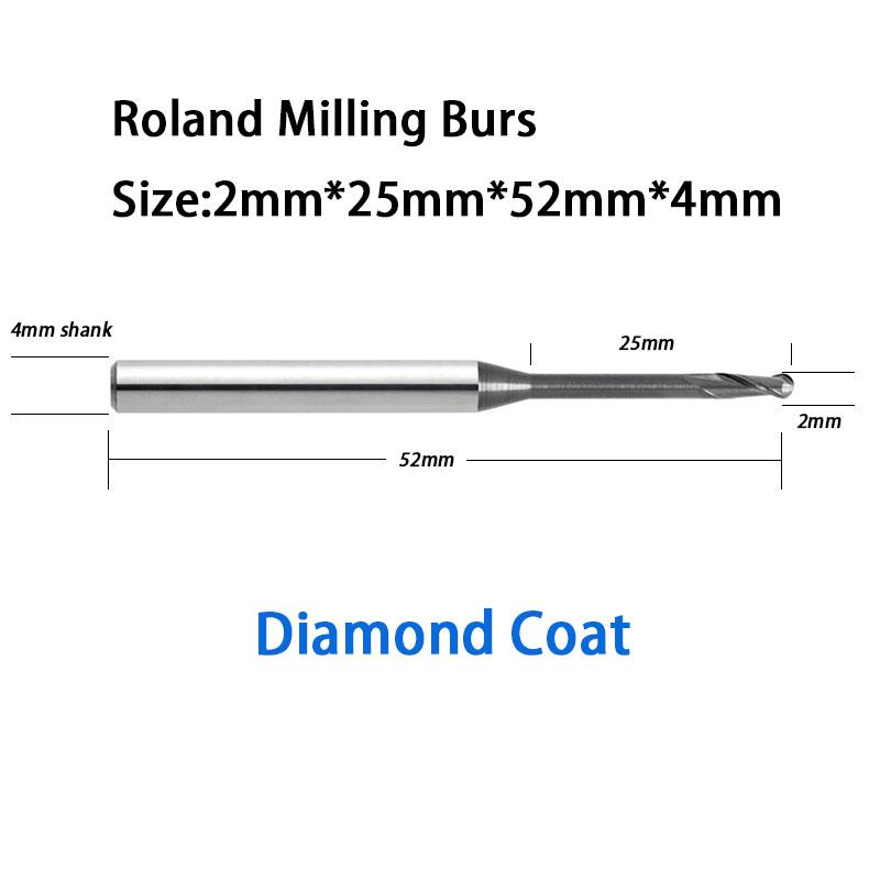 2.0mm Roland Milling Driller Burs Diamond Coat 25mm Long Reach High Quality <br><br>Aliexpress