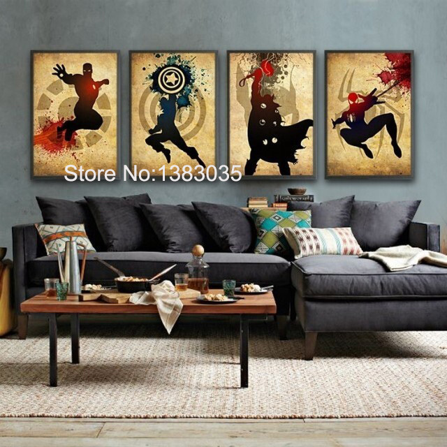 Comic Heroes Iron Man,Captain America,Thor,Spider Man Hand Painted Oil Painting On Canvas 4pc Modern Abstract Wall Art Decor Set(China (Mainland))