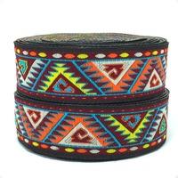 NEW width 1-1/8'' 28mm 9yards/lot Colored geometric patterns Woven Jacquard Ribbon  Zakka DIY LACE KTZD16040807