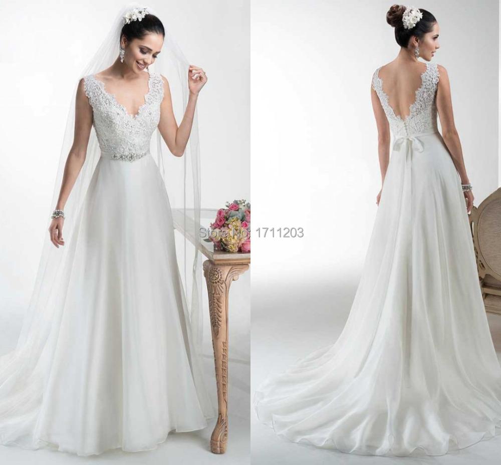 Lace V Neck A Line Wedding Dress