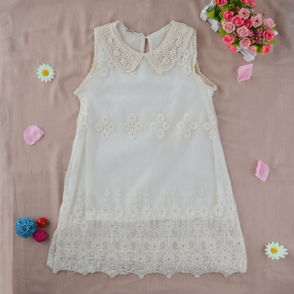 Beige Vintage Shabby Baby Girls Kids Princess Party Lace Flower Dress 2-7Y