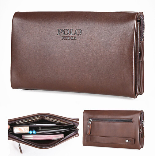 New Men Wallet Brand POLO Business Bag Genuine Leather Wallet Purses For Man Large Capacity Organizer Wallet Long Clutch Purse 2