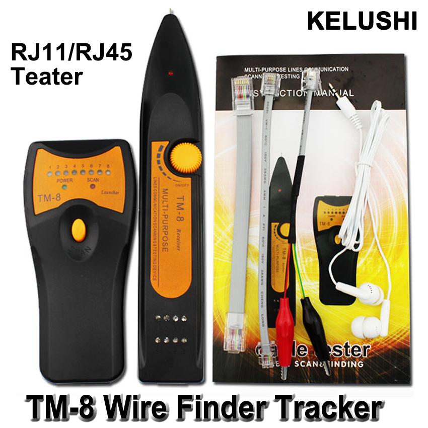 KELUSHI 2016 Newest RJ11 RJ45 Cat5 Cat6 Telephone Wire Tracker Toner Ethernet LAN Network Cable Tester Detector Line Finder TM8(China (Mainland))