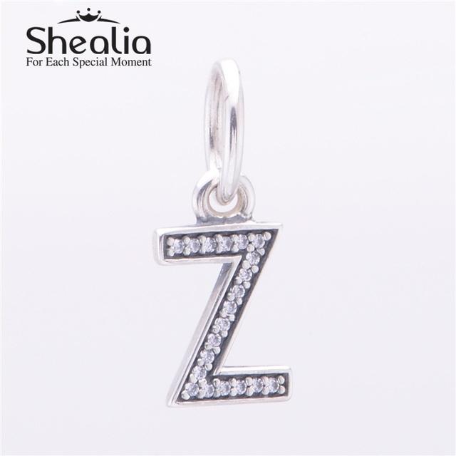 Shealia 925 серебряная буква Z мотаться подвески подвеска с четкими CZ для женщин известный браслеты сделай сам ювелирное LE13Z