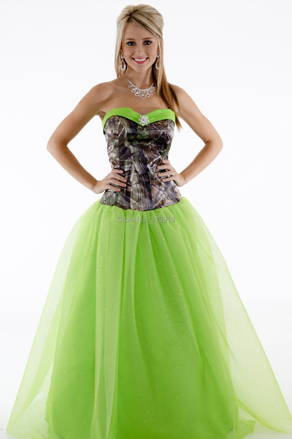 Free shipping strapless printing realtree camouflage camo for Wedding style prom dresses