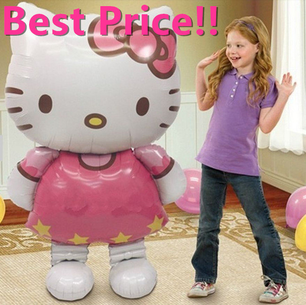 116*65cm Oversized Hello Kitty Cat foil balloons cartoon birthday decoration wedding party inflatable air balloons Classic toys(China (Mainland))