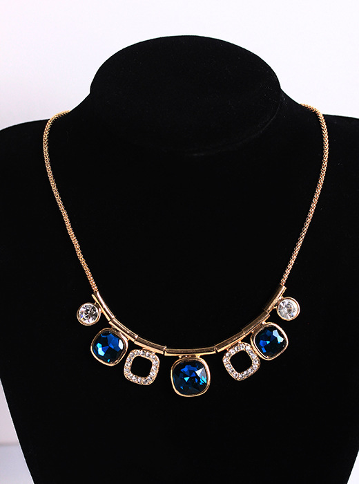 Trendy Blue Phantom Necklaces Pendants For Women Exaggerated Short Chain Female Fashion Jewelry Making Classic Choker Necklaces(China (Mainland))