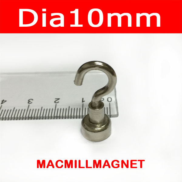 2.2KGs Pulling Magnet Pot 10PCS Dia10mm with Hook Magnetic Cup Lifting Strong Magnet Neodymium Permanent Magnetic Holding Pot(China (Mainland))