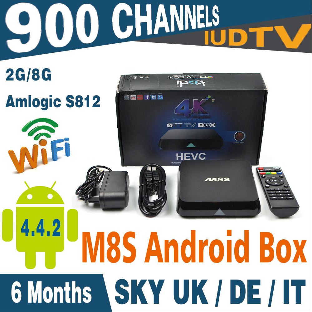 Фотография M8S Amlogic S812 Chipset Set-Top Box 4K Android Box 2G/8G XBMC With Iudtv Free 900 Channels 6 Months Sky Spain Portugal Indian