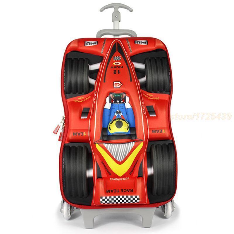 16-inch EVA Children School Wheeled Bags 3D Car Racing Design Trolley Suitcase Kids Trolley School Bag 2015 Children School Bags(China (Mainland))