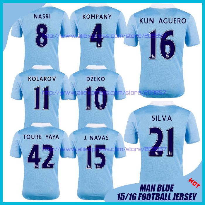 Thai Camiseta Manchester Home Man Soccer Jersey City 2015 2016 Futbol Camisa 15 16 SILVA AGUERO YAYA TOURE NASRI KOMPANY DZEKO(China (Mainland))