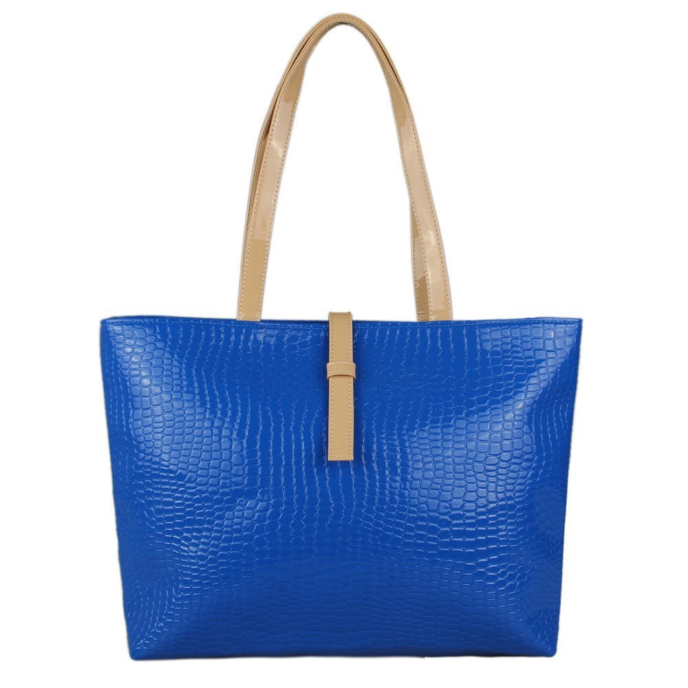 Elegant Solid Crocodile Patent Leather Tote Bags Top-Handle Bags Large Capacity Women Handbags With Small Purses Bling Handbags(China (Mainland))