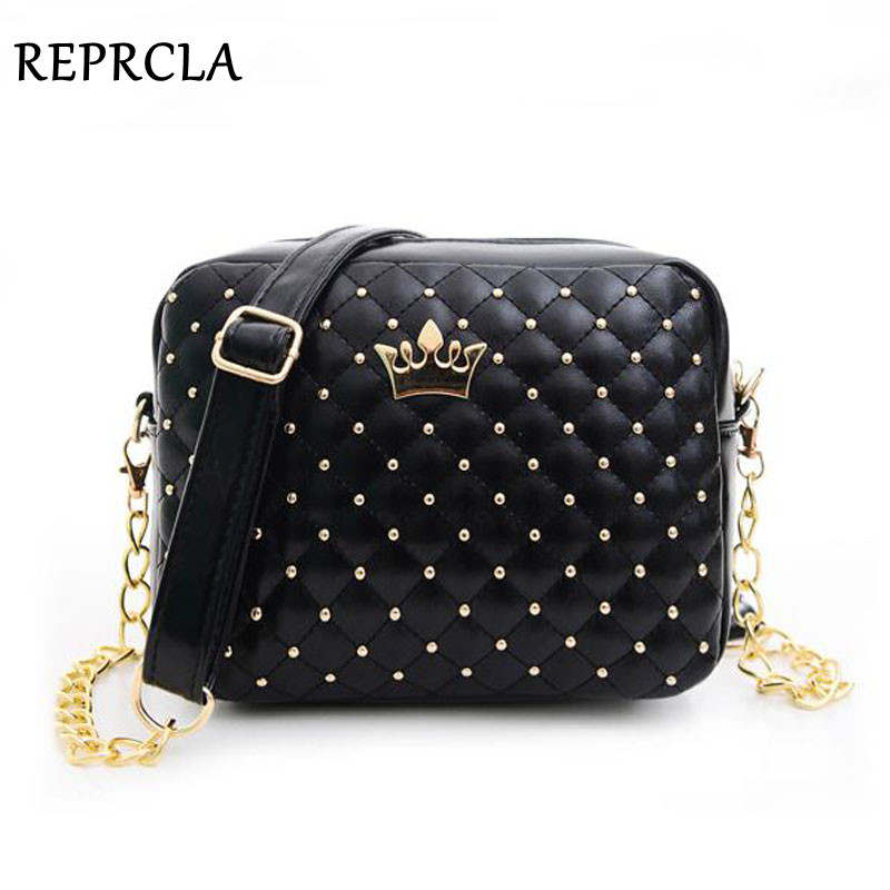 2017 Women Bag Fashion Women Messenger Bags Rivet Chain Shoulder Bag High Quality PU Leather Crossbody N0310(China (Mainland))