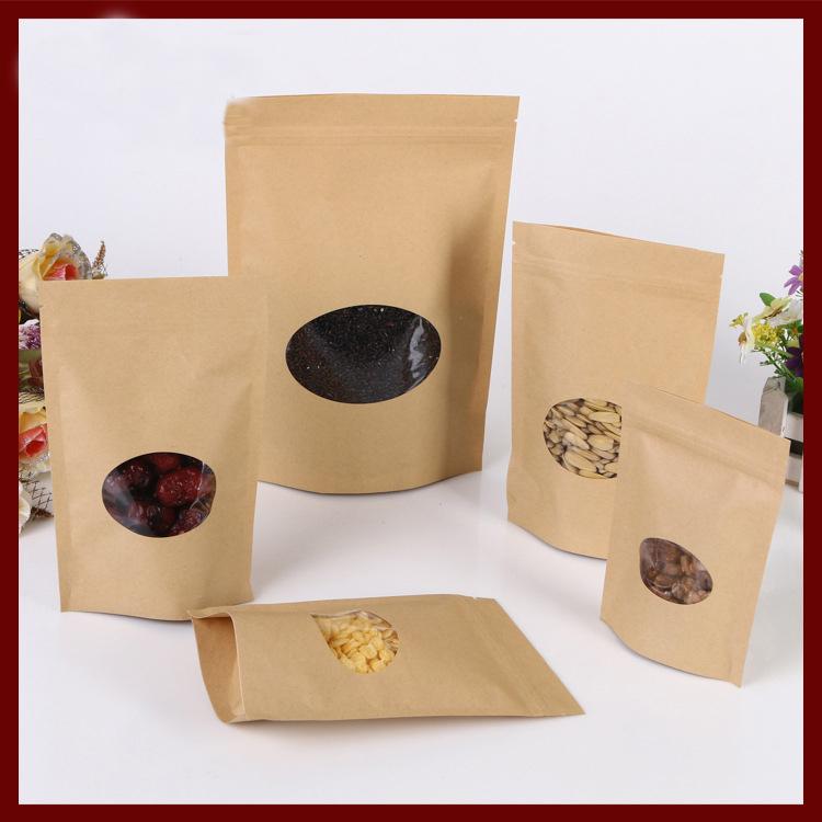 11*16+3cm 100pcs kraft paper ziplock Window bag for gift/tea/candy/jewelry/bread Packaging Paper food bag diy Packaging Bags(China (Mainland))