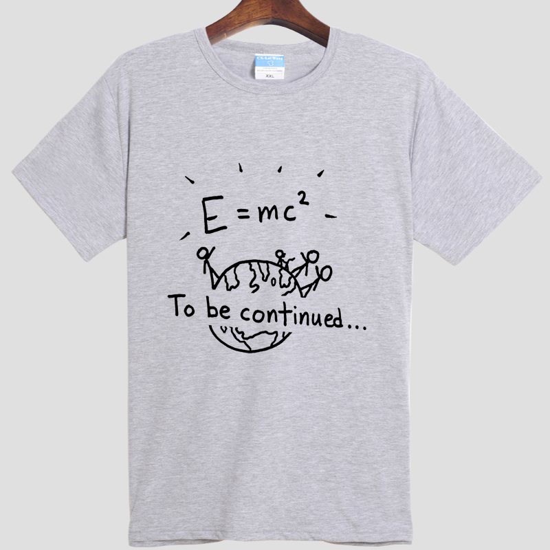 The latest fashion men's and women's short sleeve T-shirt Einstein mass energy equation E = mc ^ 2(China (Mainland))