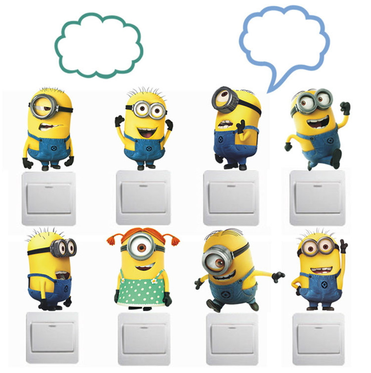 Free Shipping 1 Set Despicable Me 2 Minion Switch Stickers Cute Cartoon Wall Switch Stickers for Kids Room Home Decoration(China (Mainland))