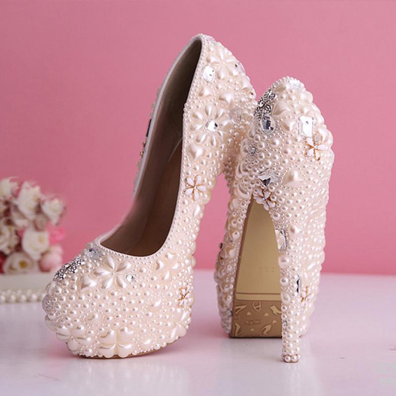 Pink Wedding Dress Shoes : Aliexpress buy gorgeous pearl wedding dress