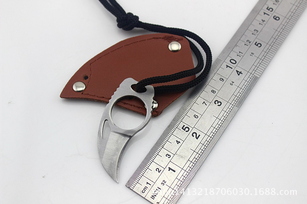 Custom-Handmade-Combat-Tactical-Claw-Karambit-Ring-3-Knife-Card-knife-credit-card-knife-Leather-Sheath (4)