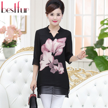 Large Size Women Blouses Blusa Feminina 2016 Summer Three Quarter Sleeve Print Flower Silk Chiffon Blouse Blusas Tops Shirt