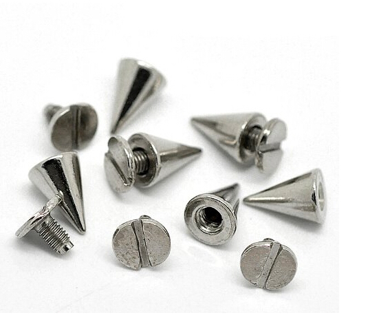 "50 pcs Silver tone cone bullet rivet studs spike spot 10 mm x 7 mm (3/8 ""x2 / 8"") Punk Conical Findings Supplies AE03749(China (Mainland))"