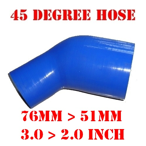 """76 mm > 51 mm, 3.0"""" > 2.0"""" Inch Silicone Reducer Hose Elbow 45 Degree Reinforced Silicone Intercooler Pipe For Car #18139478841(China (Mainland))"""