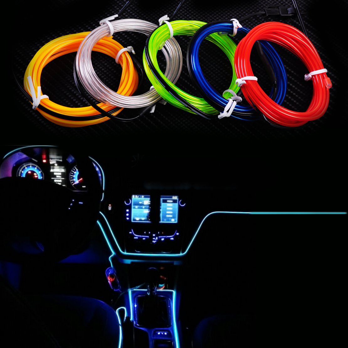 new 2m el wire flexible led neon strip cold light strip rope tape 12v car interior decor. Black Bedroom Furniture Sets. Home Design Ideas