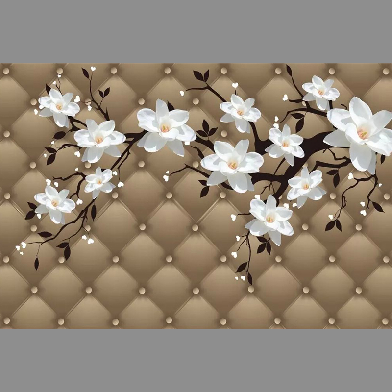 Faux leather white florals Unseamed silk cloth Custom photo wallpapers 3D wall papers sofa backdrop mural wallpapers background