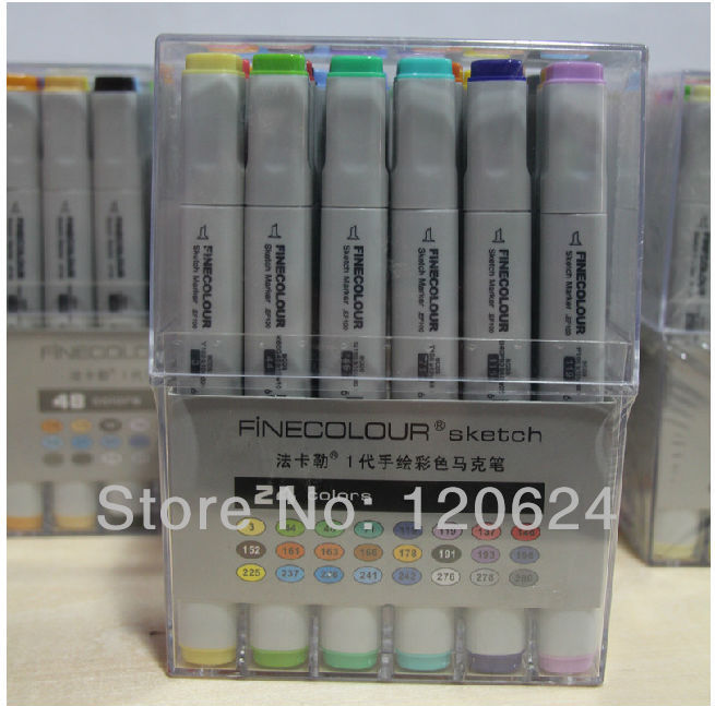 24/36/48/60/72/192 color 24 manga Finecolour Sketch art Marker pen cheaper than Copic Marker Art Supplies paint Free Shipping(China (Mainland))