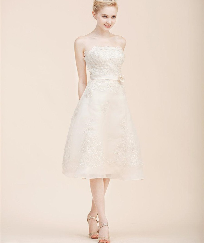Buy simple short bridal dresses strapless for Simple white dresses for wedding