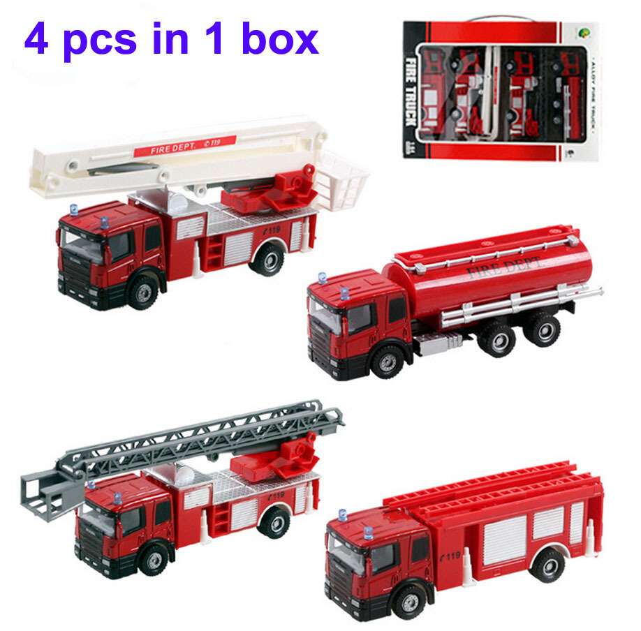 Free shipping 1:64 Children's 4 type mixed fire truck alloy car model toy car sliding firetruck Water vehicle Ladder truck(China (Mainland))