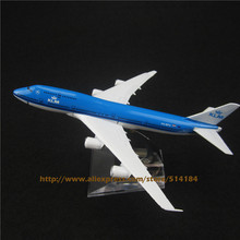 16cm Alloy Metal Air KLM Airlines B747 Aircraft Airplane Model Boeing 747 400 Airways Plane Model w Stand Toy Gift(China (Mainland))
