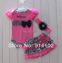 2 014 новых девушек летом устанавливает Детские 3 шт Подходит короткие Romper Туту юбка + + головной детские моды зебры наборы одежды