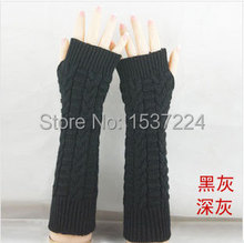 2015 NEW fingerless Long glove mitten gloves girl women's braided knit Arm Over The Elbow Leisure Arm Warmers(China (Mainland))