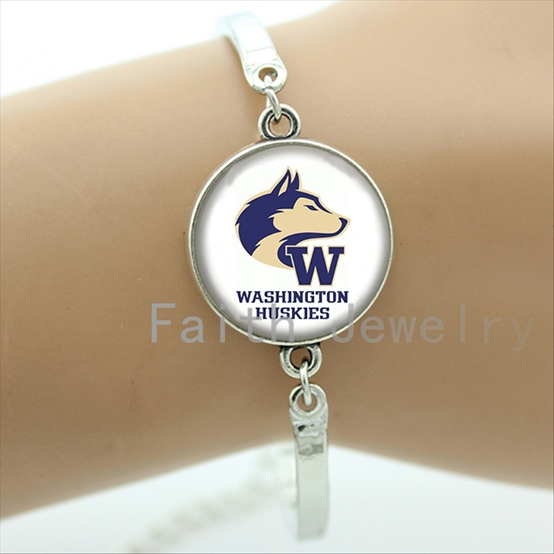 Popular rugby jewelry case for Washington Huskies bracelet trendy american football sports team bracelets jewelry gifts NF081(China (Mainland))