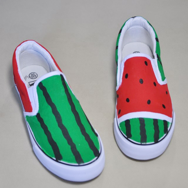 watermelon pedal lounged Luminous shoes hand-painted canvas fashion sneakers unique Custom Order Made Personalized Name Design(China (Mainland))