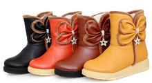 Mujeres otoño invierno nueva moda casual arco color sólido corto de nieve botas de plataforma cuero de la PU suave de gran tamaño , más 40-43(China (Mainland))