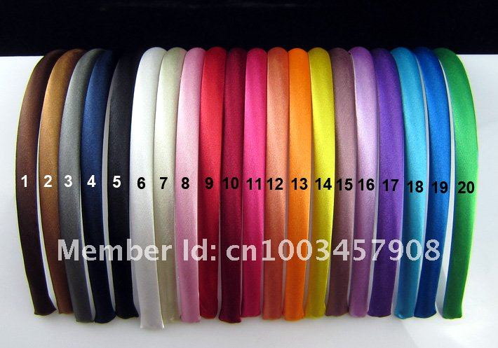 2015 Girls 1CM  Colored Satin Covered Resin Hairbands Ribbon Covered  Kids Headbands Children Hair Accessory 5pcs/lot 28colors