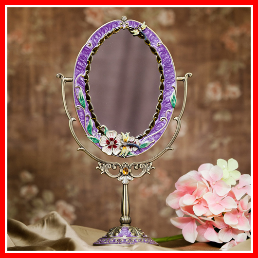 Antique Tin Alloy Beauty Vanity Makeup Mirror For Woman Cosmetic Mirror Dressing Table Standing Mirror Home Decorative Mirror(China (Mainland))