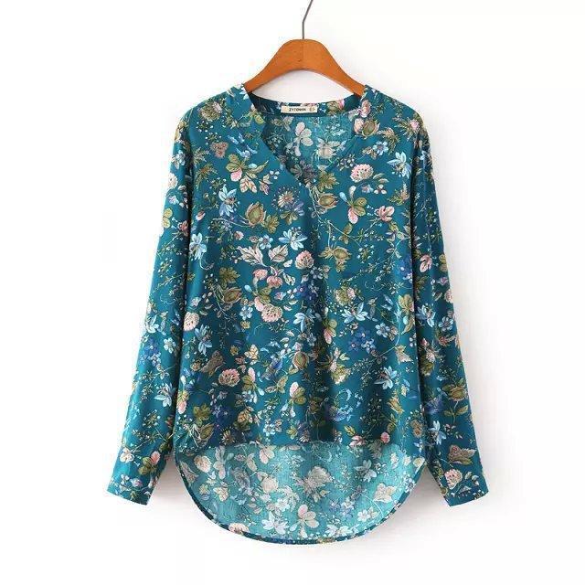New Fashion 2015 Ladies' Elegant vintage floral print blouses V neck long sleeve OL shirts casual slim brand tops(China (Mainland))
