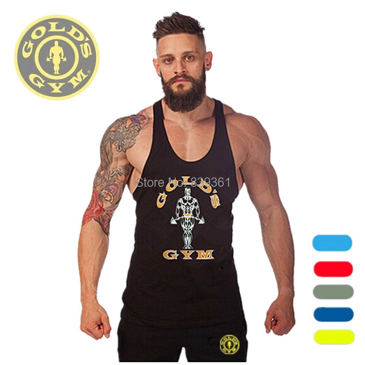 Golds Gym Stringer Tank Top Men Bodybuilding Clothing and Fitness Mens Sleeveless Shirt Sports Vests Cotton Singlets Muscle Tops(China (Mainland))