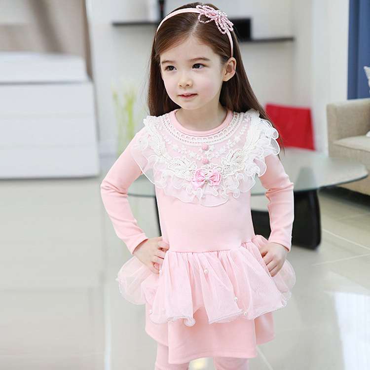 New spring Girls lace dresses, cute bow princess dress blue pink cute kids clothes cotton baby clothing high quality wholesale<br><br>Aliexpress