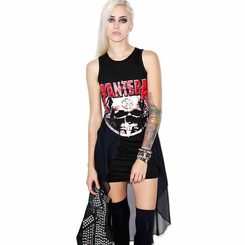 2016 Punk Rock Sleeveless O Neck Tatoo Print Rock Rolling Metallic Hip Hop Music Black Gothic