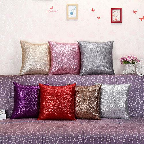 Best Sequins Pillow Case Pure Color Sofa Throw Cushion Cover Home Decor 8PM9(China (Mainland))