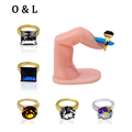 10pcs New Nail Art Rings Glitter Rhinestones Square Round Heart Designs Charm 3d Nail Art Jewelry