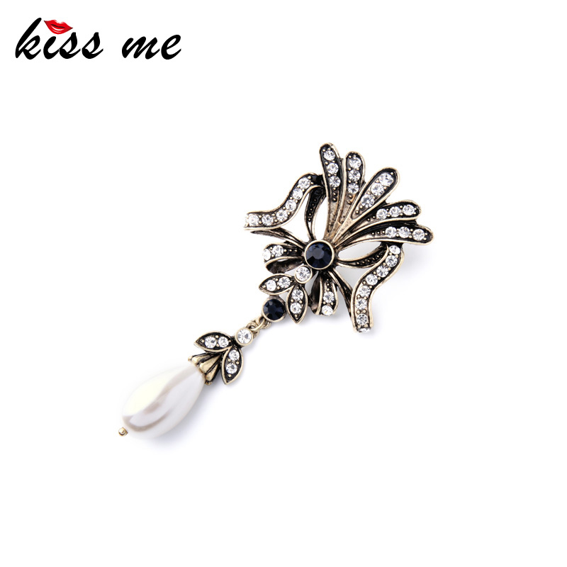 Retro Fashion Jewelry Online Store Newest Summer Crystal Flowers Simulated Pearls Women Brooch Factory Wholesale(China (Mainland))