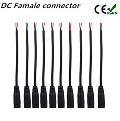10pcs lot 12v DC Power pigtail famale 5 5 2 1mm cable plug wire for CCTV