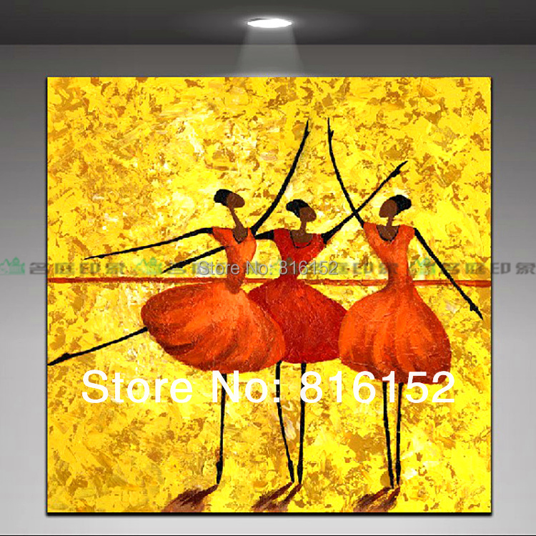 Hot sell modern abstract painting ballet dancing girls for Where to buy canvas art
